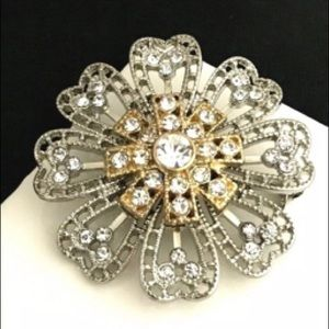 Designer Pin Silver Gold Crystals Floral 2G